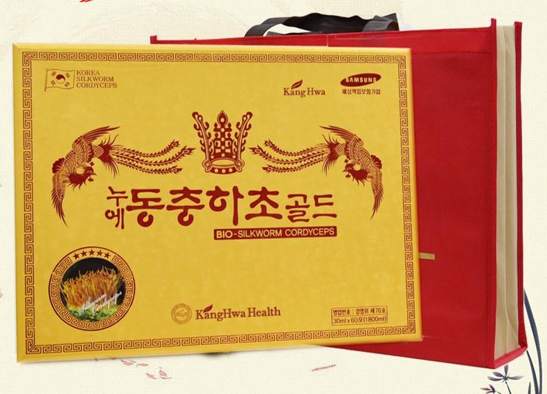 Chiết xuất đông trùng hạ thảo Kanghwa hộp gỗ vàng có bao bì đẹp sang trọng