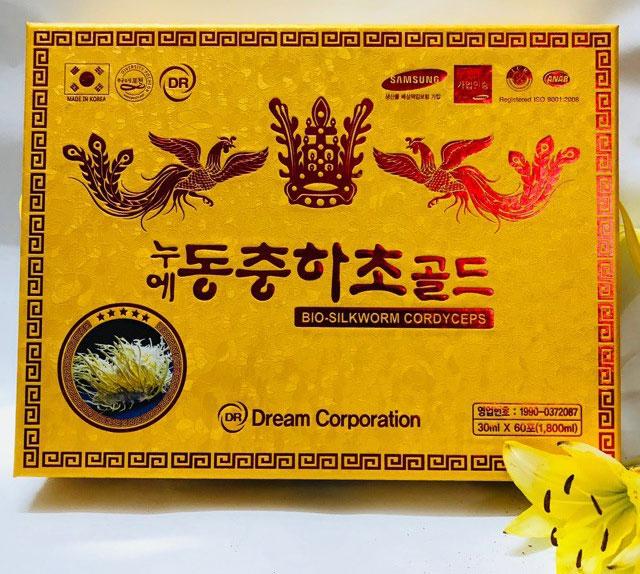 Nước đông trùng hạ thảo Hàn Quốc Dream Corporation hộp gỗ vàng cao cấp