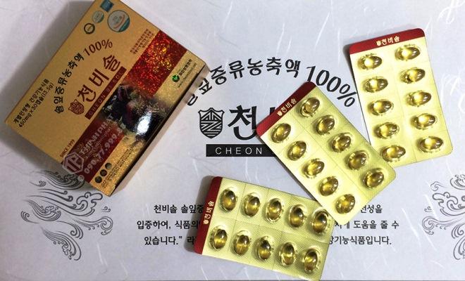 Viên Tinh Dầu Thông Đỏ Hàn Quốc Cheon Bi Sol Cao Cấp 450mg - Hộp 180 Viên