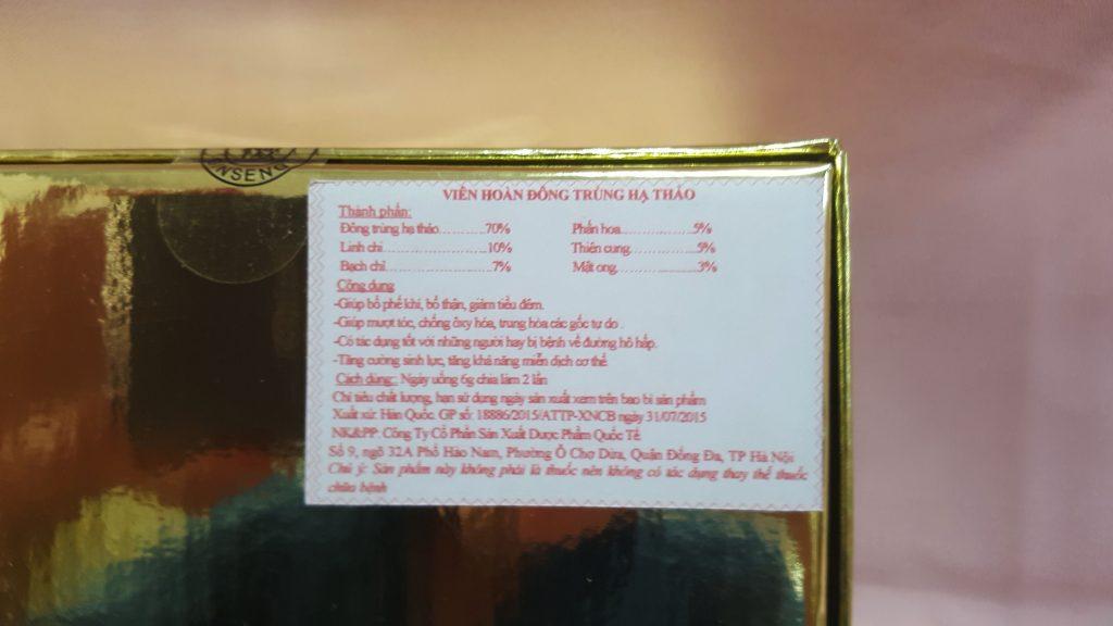 Đông Trùng Hạ Thảo hàn quốc 2 lọ hộp vàng Shop Sống Khỏe