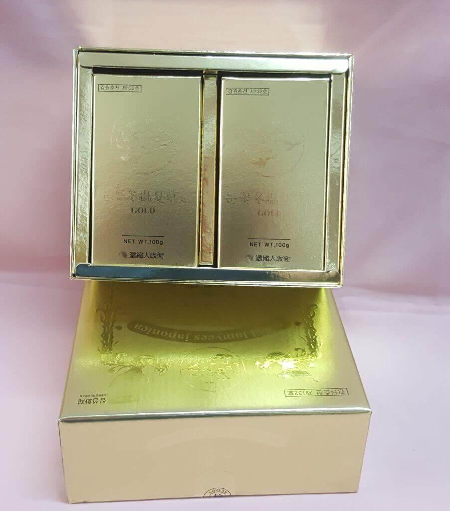 Đông Trùng Hạ Thảo hàn quốc 2 lọ hộp vàng