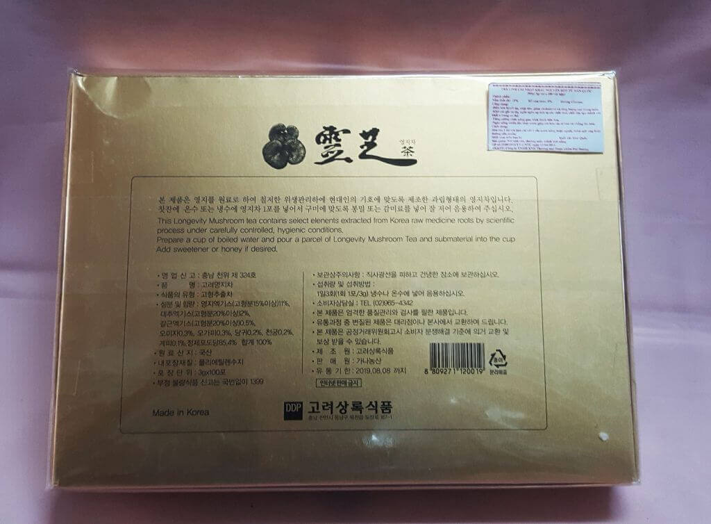 Mặt sau hộp Chè Linh Chi Hàn Quốc