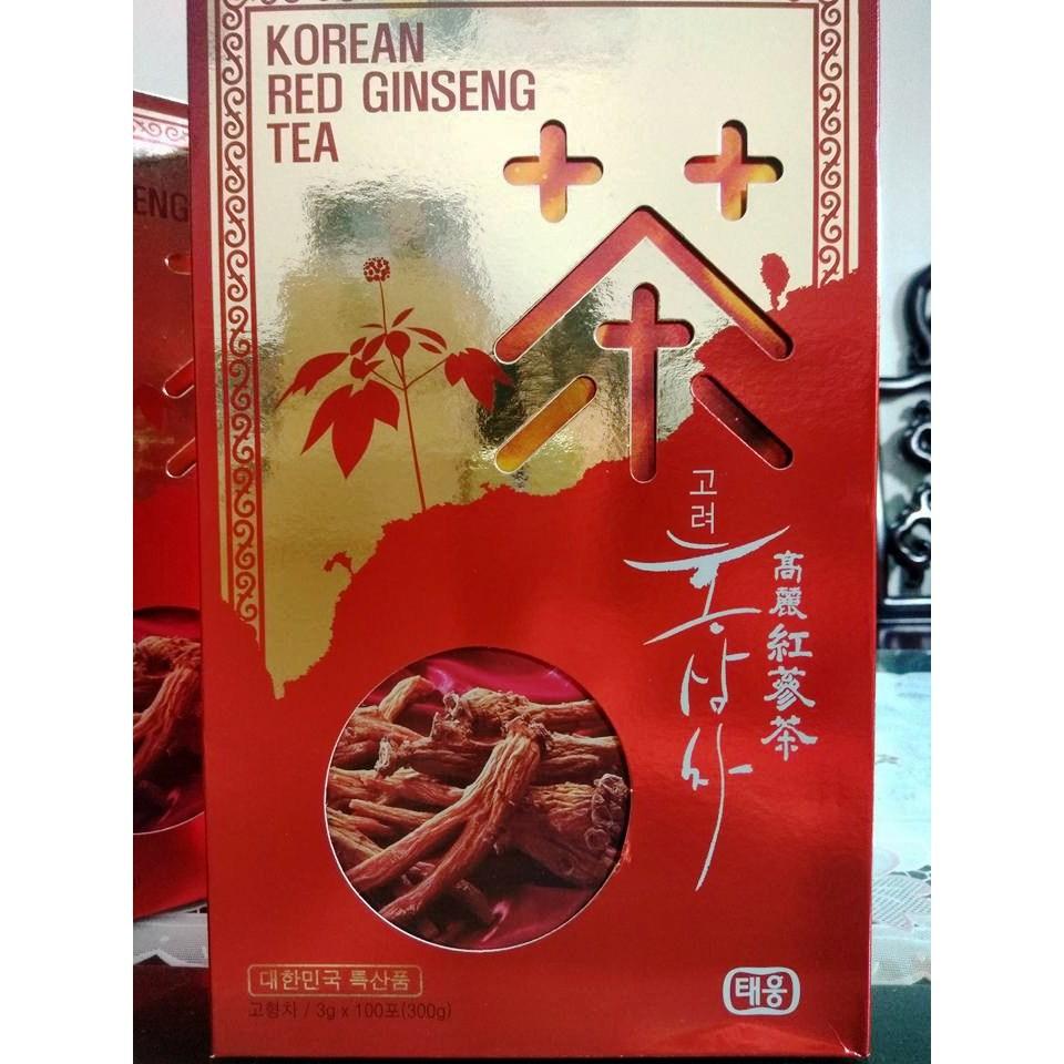 Trà Hồng Sâm Hàn Quốc Hộp Đỏ Cao Cấp 100 Gói