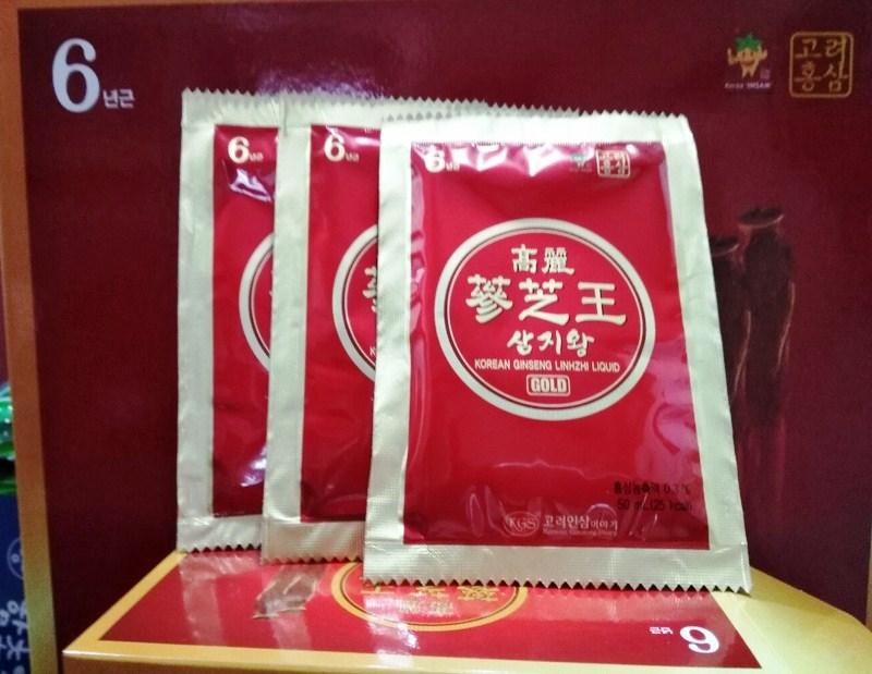 Nước Hồng Sâm Linh Chi KGS Gold hộp 60 gói x 50ml